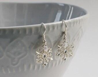 Sterling Silver Snowflake earrings, silver filigree pierced snowflake earrings, FREE SHIPPING