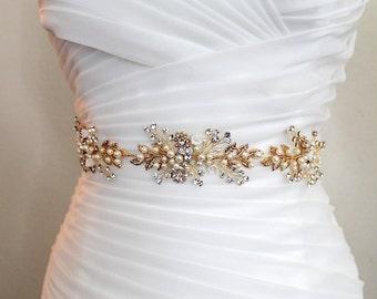 10% Off. Gold or Rose gold Leaf Vine Wedding Dress Belt.  Boho Crystal Pearl Bridal Sash. Rhinestone Flower Wire Sash. Silver Belt. FLORA