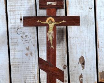 Three Bar Orthodox Cross, Byzantine, Russian Orthodox Cross, Christian Wooden Hand Painted Jesus Christ Russian Icon Wall Crucifix