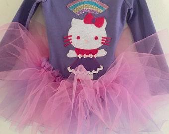 KITTY TUTU -Kitty Birthday Party- Kitty Dress- Long Sleeve Leotard- Toddler Leotard- Gymnastics Leotard