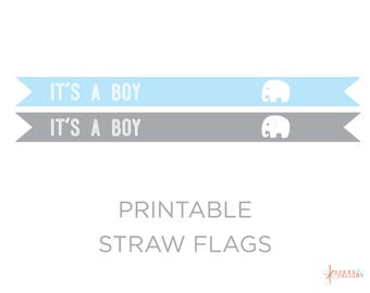 Printable Straw Flags - Elephant Baby Shower - Elephant Straw Flags - Elephant Birthday - Elephant Theme - Boy Baby Shower -