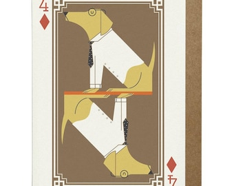 4 of Diamonds Labrador A6 Greeting Card