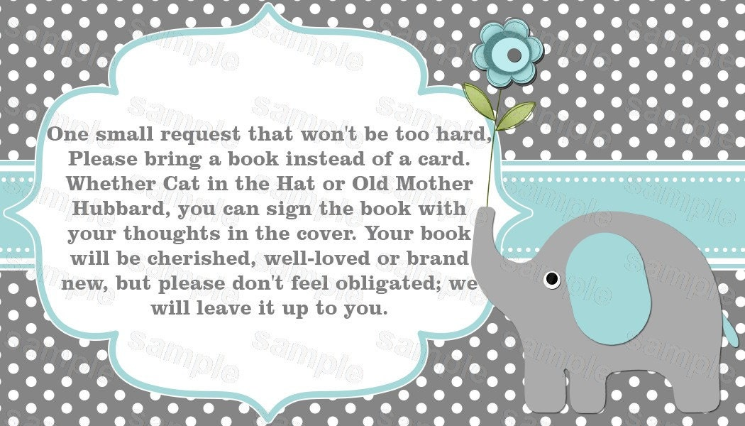Elephant baby shower invitation bring a book instead of a card
