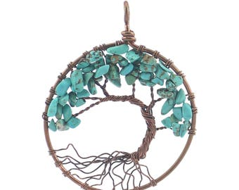 wire wrapped green turquoise tree of  life pendant charm,turquoise pendant,supplies for jewelry making