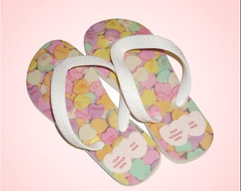 Valentine's Day Conversation Hearts Personalized Flip Flops