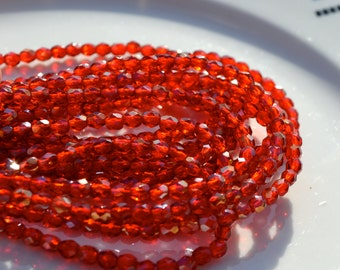 Siam Ruby 4mm Czech GLass Faceted FIrepolish Beads 50