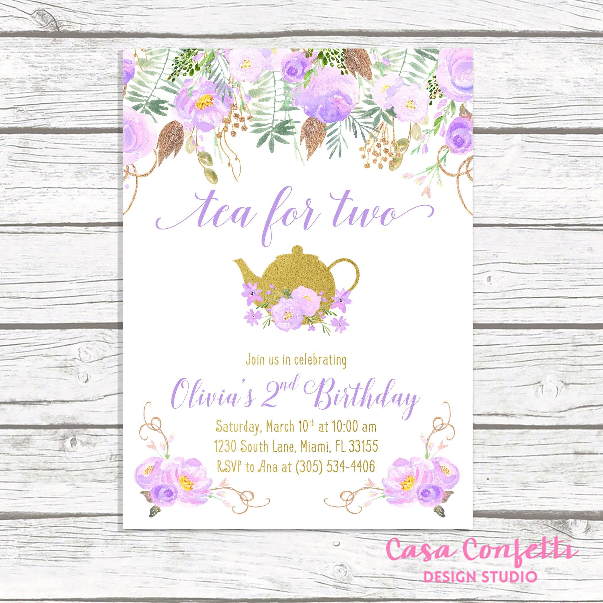 Tea for Two, Tea Party Birthday Invitation, Tea Party Invitation ...