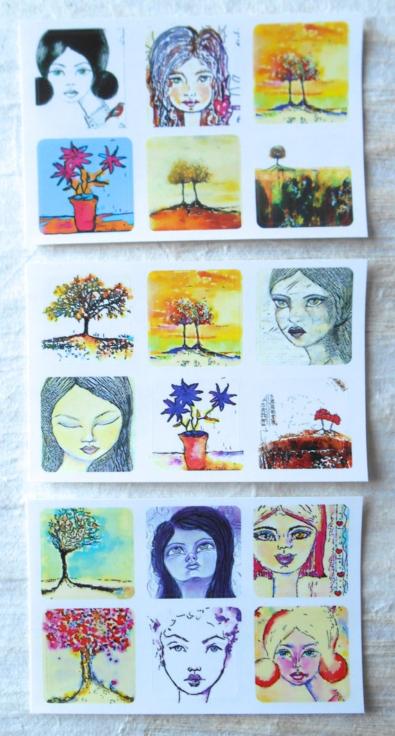 NEW ** Mixed Minis 3 - - Fine Art Stickers