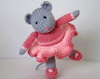 Darcy the Dancing Mouse doll knitting pattern - INSTANT DOWNLOAD