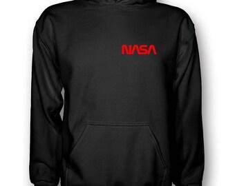 NASA Worm Hoodie - Kapuzen Sweatshirt Brustlogo Raumfahrt Weltall Mond Space Sheldon