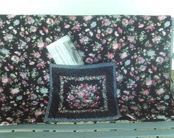 Quilt,lightweight,pocket,black,flowers,gift,seniors,adults,bedding,decor,home