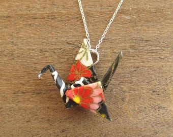 Black & Red Crane Necklace, Origami Necklace, Kawaii Asian Japanese Cute Pendant Jewelry