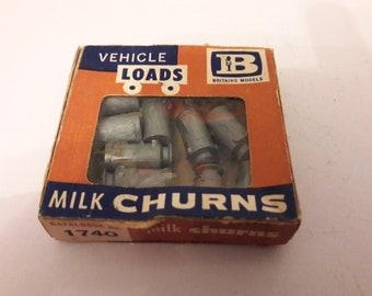britains box of 9 plastic  milk churns