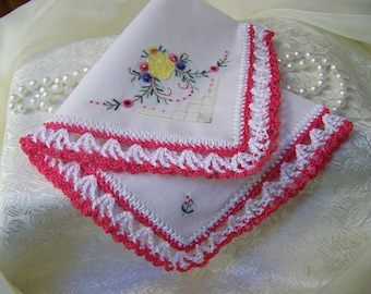 Ladies Handkerchief, Hanky, Hankie, Lace, Hand Crochet, Embroidered, Floral, Personalized, Monogrammed, Ready to ship, Pink, Bright