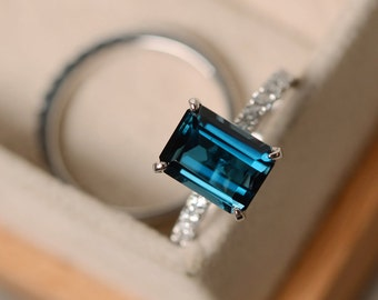London blue topaz engagement ring, sterling silver, emerald cut, promise rings