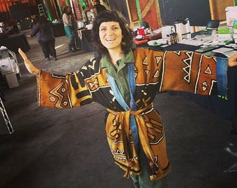 The Portland Kimono in mudcloth textiles. One of a kind.