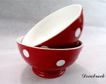 Pair of vintage red and white polka dot Longchamp France bowls / collection cups / bowls vintage / vintage kitchen / vintage france