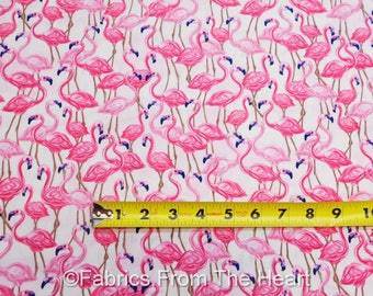 Flamingos Pink Birds packed on Pink BY YARDS  Timeless Treasure Cotton Fabric