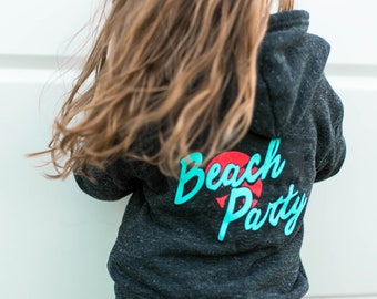 Beach Party Kids Hoodie, Zip Up, Trendy kids clothes, Hipster kids clothes, Funny Kids Shirt, Retro