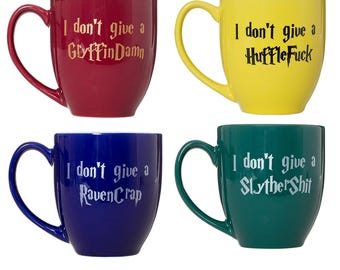 I Don't Give A  Gryffindamn Hufflefuck Ravencrap Slythershit - 15oz Bistro Deluxe Double-Sided Coffee Tea Mugs