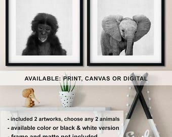 Jungle nursery decor, Elephant nursery print, Baby monkey wall art, Safari Baby animals, Safari animal prints, Modern nursery Print/Canvas