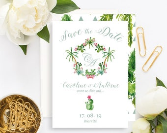 Palm Springs Wedding Save the Date with white envelope - Wedding Save the Date - Cactus Wedding Invitation - Palm Springs Save the Date