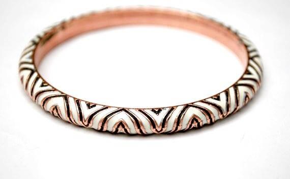 Copper Bangle - black white enamel - etched triangle -  Boho Bracelet - Hippie