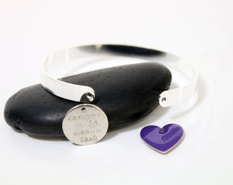 """""""I LOVE YOU"""" Bangle - pendant Kit and sequin heart"""