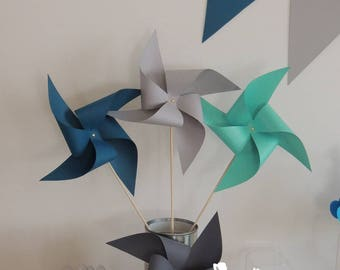 Set of 10 pinwheels wind color teal, turquoise, light grey and dark grey 15cm
