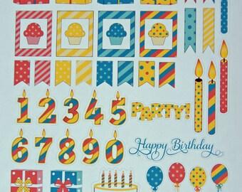 Rainbow Birthday Planner Sticker Sheet - Pre Printed Planner Stickers - Planner Stickers - Planner Accessories