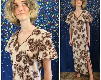 Vintage Hawaiian Muumuu Mrs Roper Caftan Womens 70s Brown Floral House Dress SAMOA FASHIONS Size XL Hippie Boho Lounge Wear Hawaii 1970s