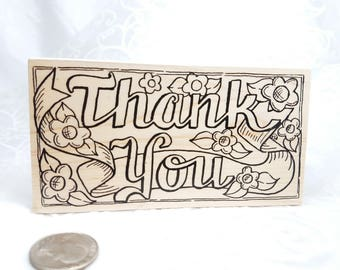 Large Thank You Rubber Stamp by The RubberNecker, Thank you stamp, Thank you card stamp, Script Thank you, Gratitude Stamp  Card Making