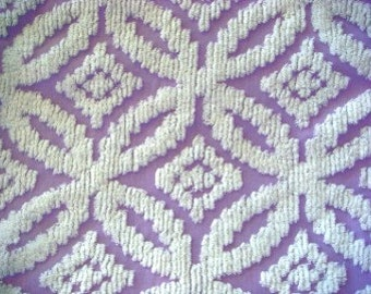 White Sculpted Wedding Ring on Lavender Vintage Cotton Chenille 15 x 29 Inches