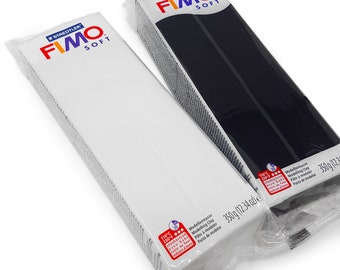 FIMO Soft 350g Polymer Modelling Clay - Oven Bake Clay - Black and White Set