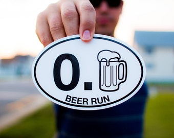 Beer Run Sticker Decal, Car / Truck / Camper Bumper, Cooler and Bar Decoration, Great Gift, Weather / Water Resistant Brew Fun