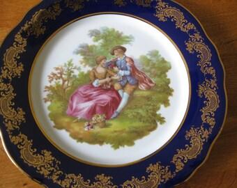 50% Off Limoges France Blue and Gold Plate Fragonard  Lovers In A Garden