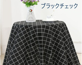 "Japanese cotton fabric canvas black checked plaid pattern 60"" minimalist tablecloth cushion cover doorway curtain japanese style"
