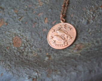 Vintage Copper PISCES Astrological Sign Astrology Fish Charm Necklace