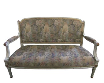 French Settee French Tapestry Settee Shabby French Paris Apartment Settee French Painted Chippy Loveseat Cottage Loveseat Settee