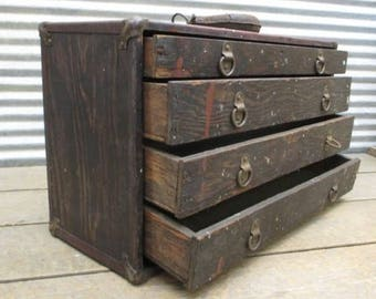 4 Drawer Machinist Tool Box Chest Vintage Carpenter Mechanic Hardware Nut Bolt a, Industrial Tool Box, Machinist Tool Chest, Wood Tool Chest