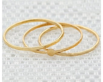 Gold ring, stackable ring set, knuckle ring, thin gold filled ring, skinny gold ring, dainty jewelry.