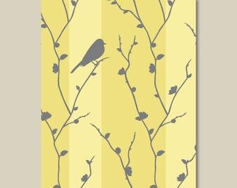 Bird Wall Art Print - Bird Nursery Art - Bird Bedroom Art - Bird Home Decor - Bird Bathroom Art - Striped Wall Art  - Yellow Gray (S-224)
