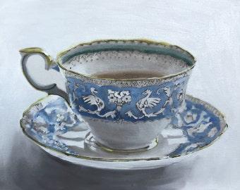 Tea Painting Tea Art Tea PRINT Tea Cup - Art Print - from original painting by J Coates