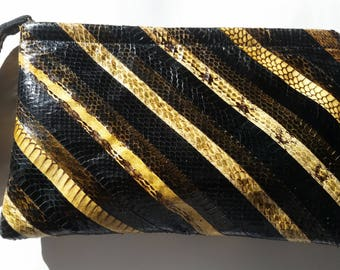 Vintage Multicolored Snakeskin Clutch
