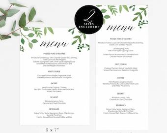 Modern Greenery Printable Wedding Menu Template, Kraft Menu Cards, Menu Template, Editable Menu,Wedding, Editable PDF Instant Download #E023