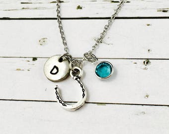 Horse Shoe Charm Necklace-Good Luck Charm-Personalised With Swarovski Crystal Birthstone & Hand Stamped Initial Charm-Horse Lover gift
