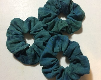 Teal Green/Blue Scrunchies, Shibori Scrunchie, Tie Dye Scrunchie, Hair Tie, Hair Elastic, Ponytail Holder, Scrunchie, Scrunchy