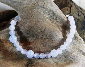 """Blue purple lace agate bracelet 7.75"""" long chalcedony semiprecious stone jewelry packaged in a colorful gift bag 11277"""