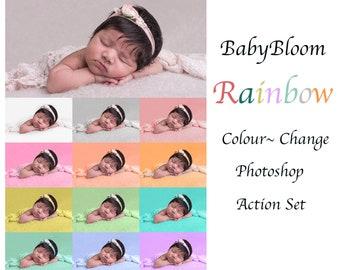 BabyBloom Rainbow Colour Change Photoshop Action  / Instant Download
