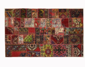 Best Price Turkish Patchwork Rug - 6.09 x 9.67 ft - 185 x 295 cm, Patchwork Rug, Handmade from Oushak vintage Turkish carpets